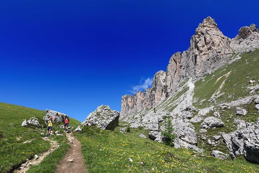 Hiking part of the Dolomite High Route 1 near Passo di Giau