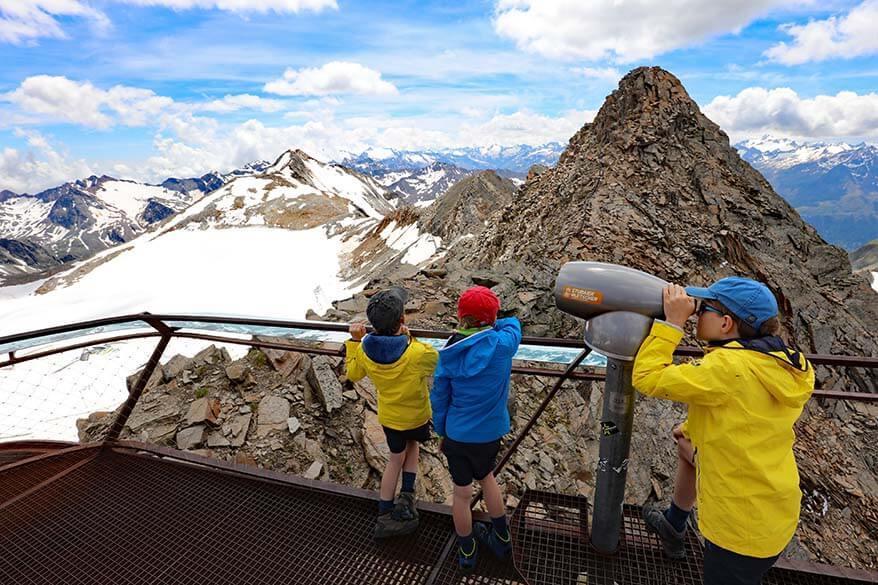 Kids at the Top of Tyrol viewing platform at Stubai Glacier