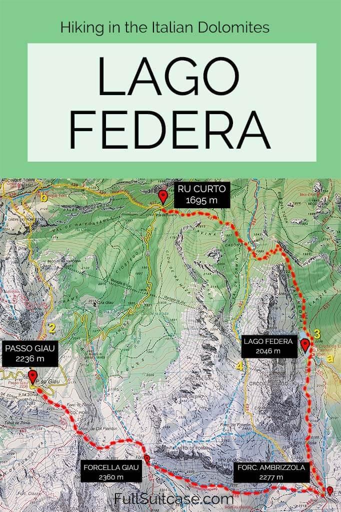 Lago Federa hike map