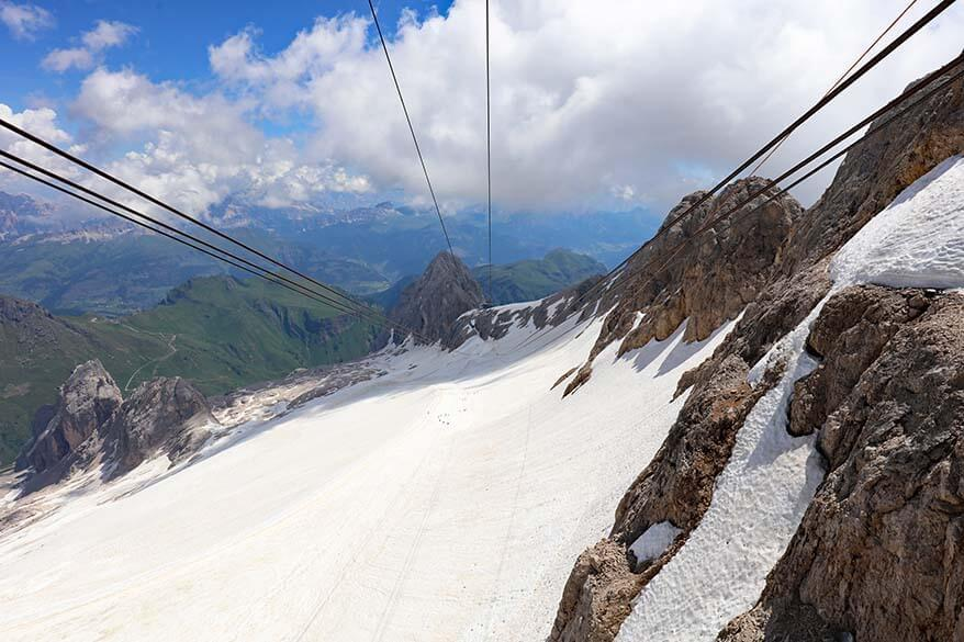 Marmolada glacier as seen from cable car at Punta Rocca