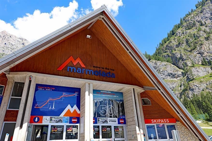 Marmolada ticket office at Malga Ciapela