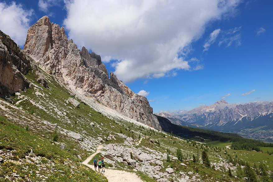 Mountain scenery at Forcella Ambrizzola in the Italian Dolomites