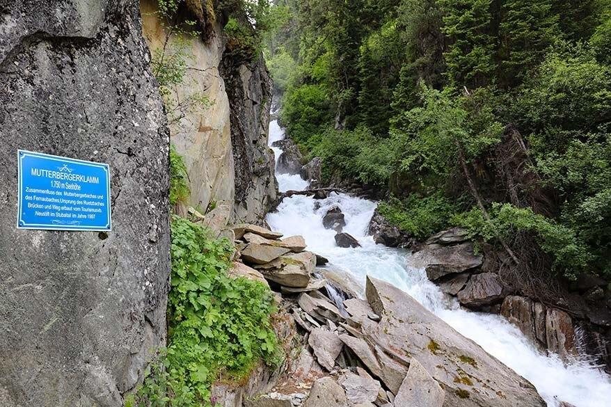 Mutterbergerklamm and Mutterberg waterfall at Stubai Glacier in Austria