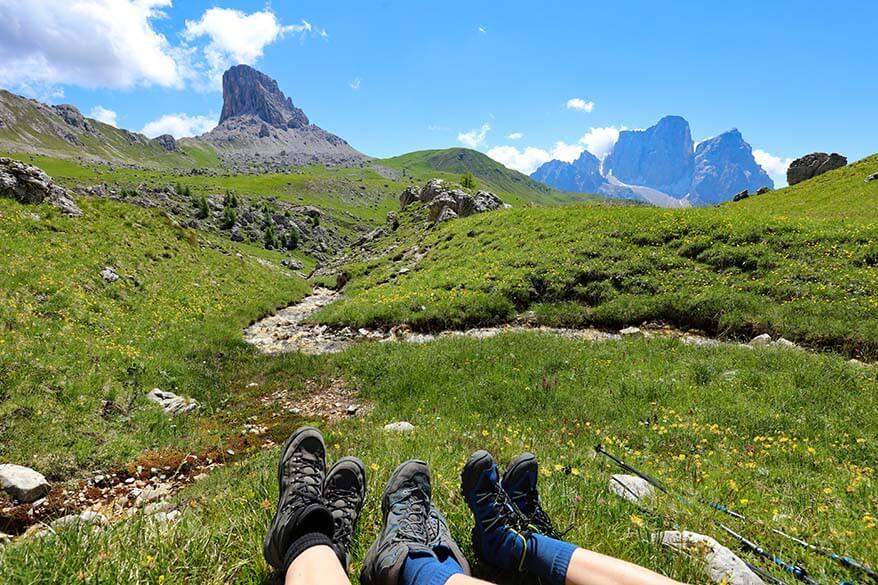 Our picnic spot along the hiking trail between Forcella Giau and Forcella Ambrizzola
