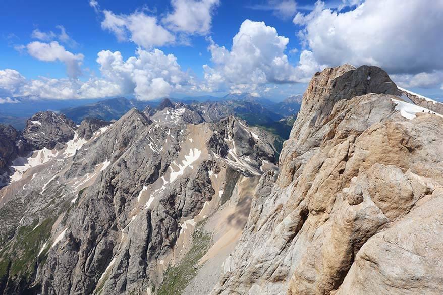 Punta Penia 3343m as seen from Marmolada mountain in Italy