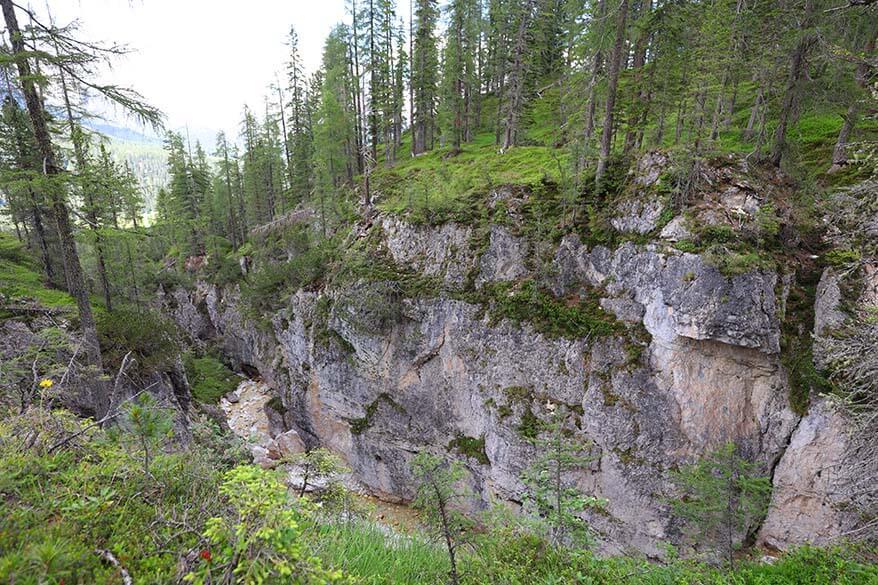River gorge along the hike between Ru Curto and Lago Federa
