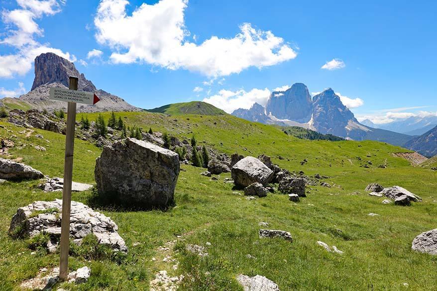 Signs to Mesolithic burial site of Mondeval Man near Passo Giau Lake Federa hike