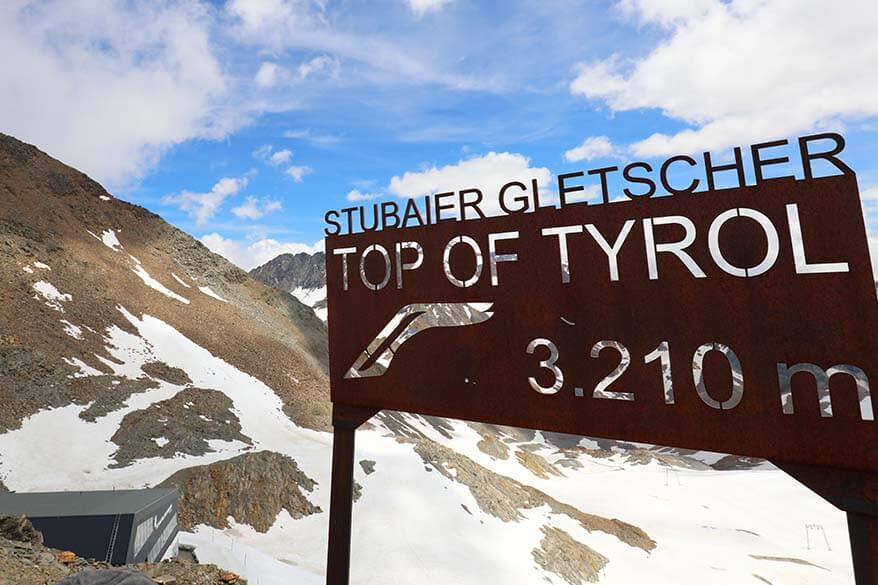 Stubai Glacier Top of Tyrol sign