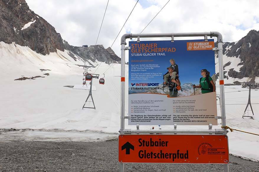 Stubai Glacier Trail and informational board