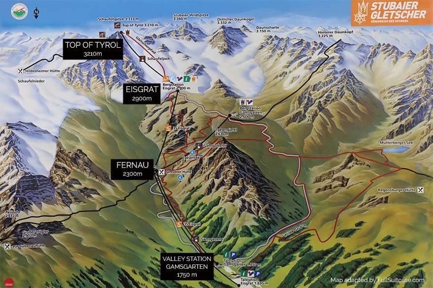 Stubai Glacier map summer
