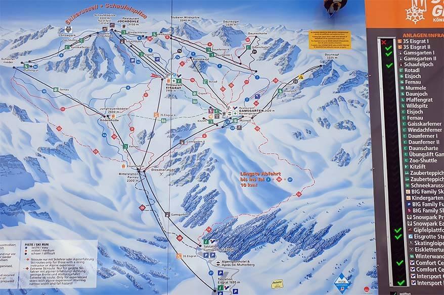 Stubai Glacier winter map