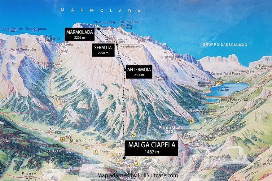 Summer map of Marmolada mountain range in Italian Dolomites