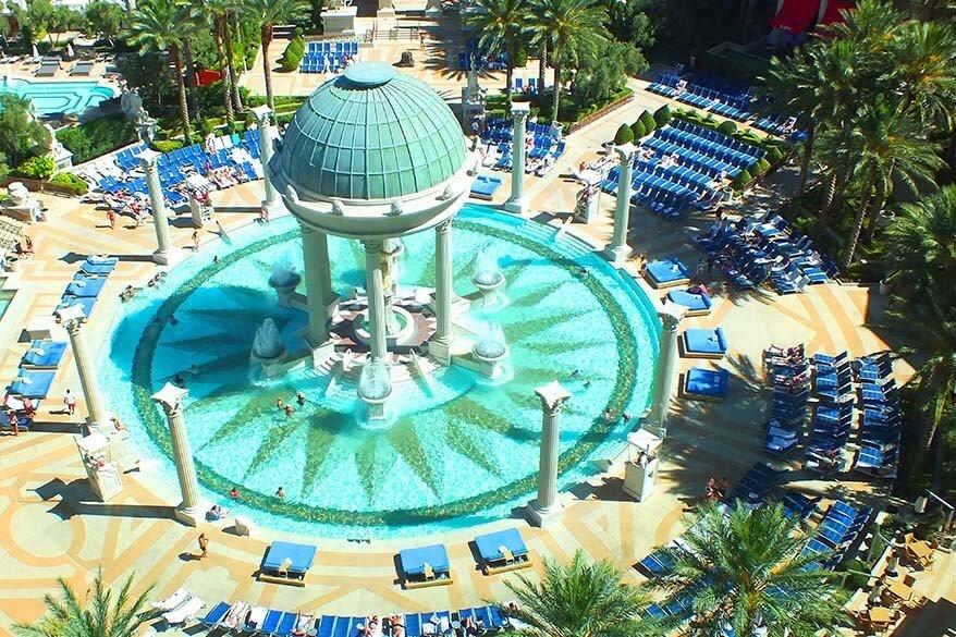 Swimming pool at Caesars Palace in Vegas