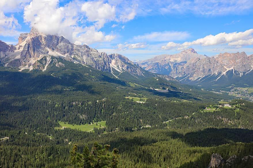 View from Val Negra viewpoint in the Italian Dolomites