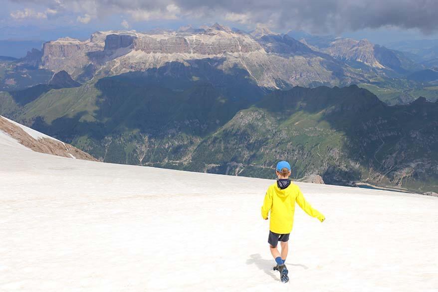 Walking on the glacier at Marmolada Punta Rocca