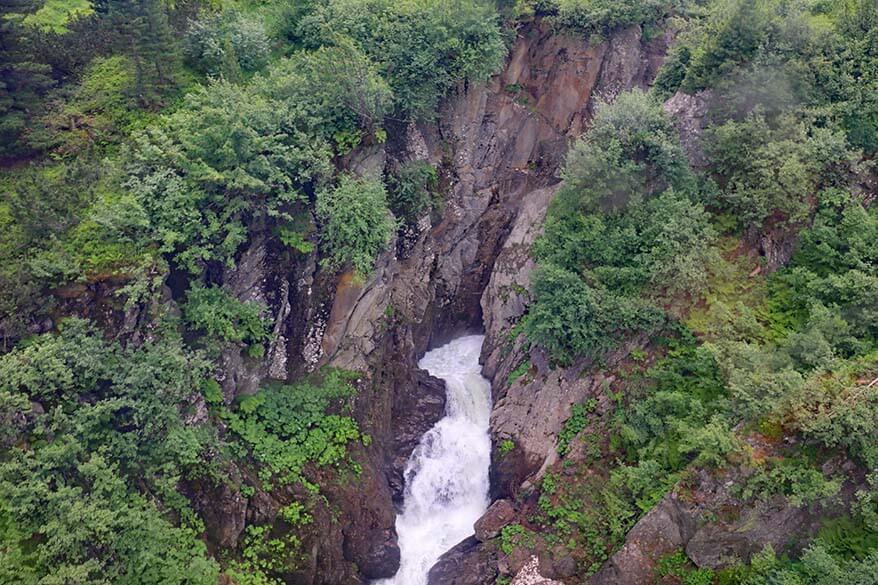 Waterfall in Stubai Valley as seen from Gamsgarten gondola
