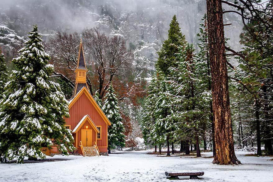 Yosemite Valley Chapel in winter