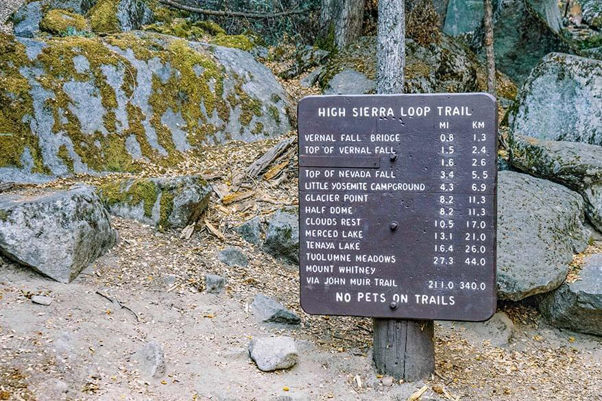 Yosemite Valley hiking trails sign