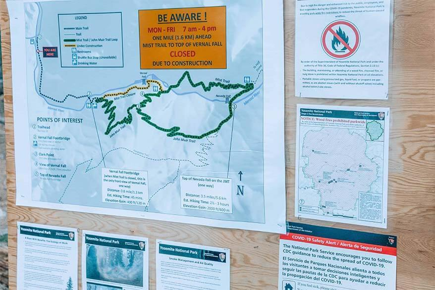 Yosemite travel information and warning signs inside the park