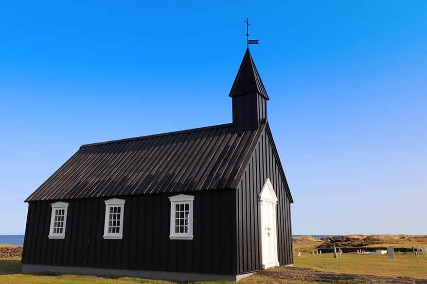 Budakirkja in Budir on Snaefellsnes Peninsula Iceland