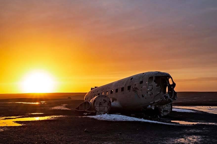 DC plane wreck on Solheimasandur beach at sunset