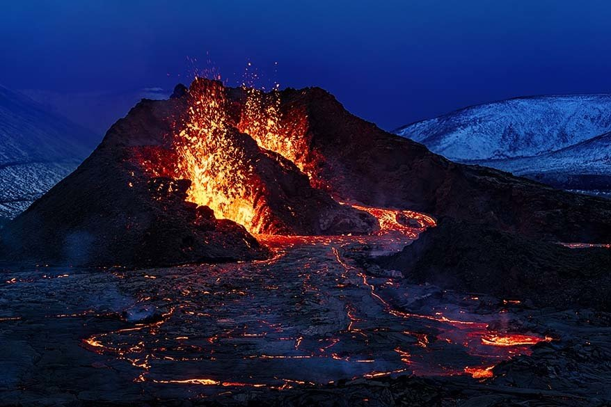 Fagradalsfjall volcano eruption in 2021 on Reykjanes Peninsula in Iceland