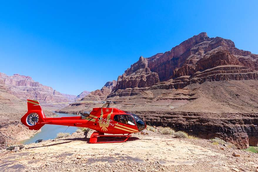 Helicopter at the bottom of the Grand Canyon