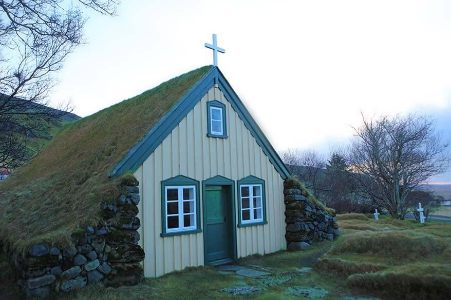 Hofskirkja turf church in Iceland