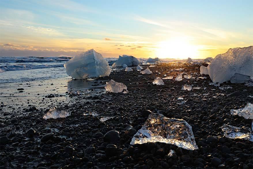 Iceland South Coast - Diamond Beach at Jokulsarlon is must see