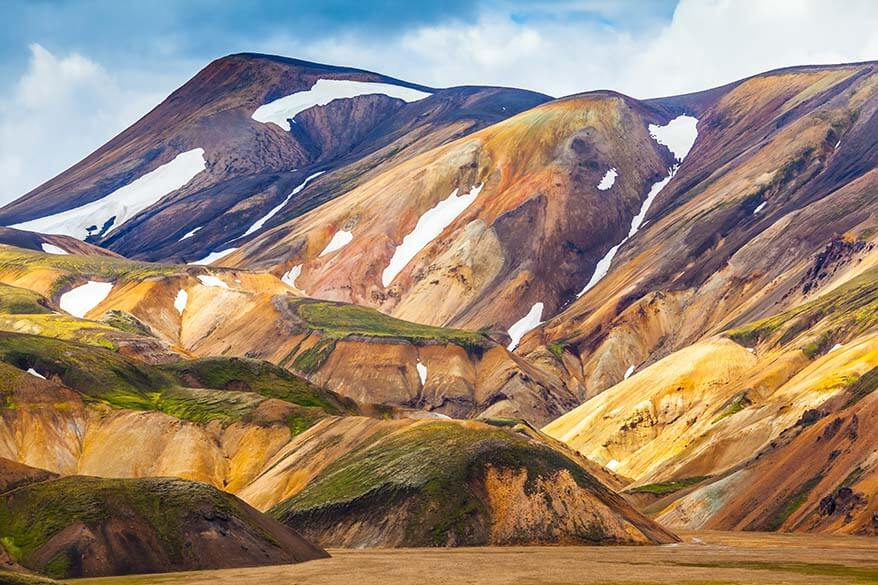 Landmannalaugar colored mountains in the highlands of Iceland