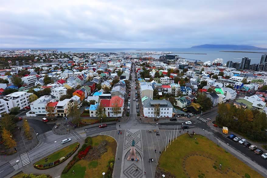 Reykjavik aerial view as seen from Hallsgrimkirkja