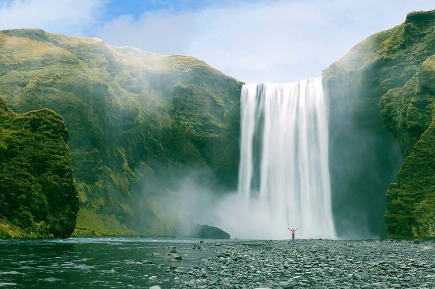 Skogafoss waterfall is one of must see Iceland South Coast attractions