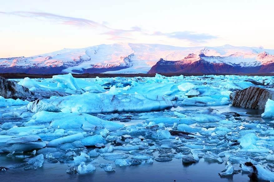 Sunrise at Jokulsarlon Glacier Lagoon in Iceland