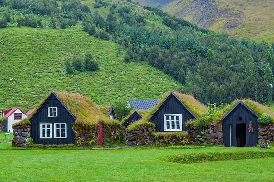 Turf houses at Skogar Museum in Iceland