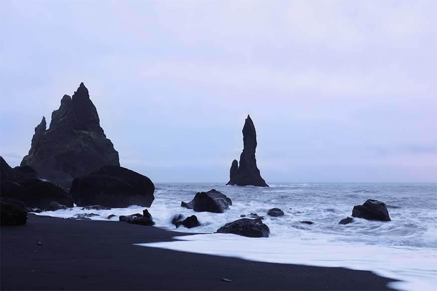 Vik black sand beach Reynisfjara in Iceland