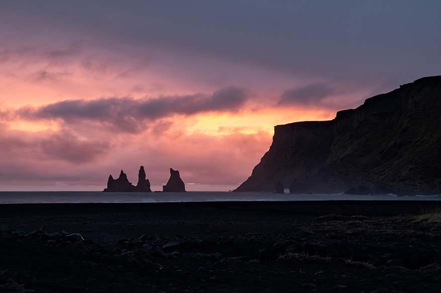 Vik black sand beach at sunset