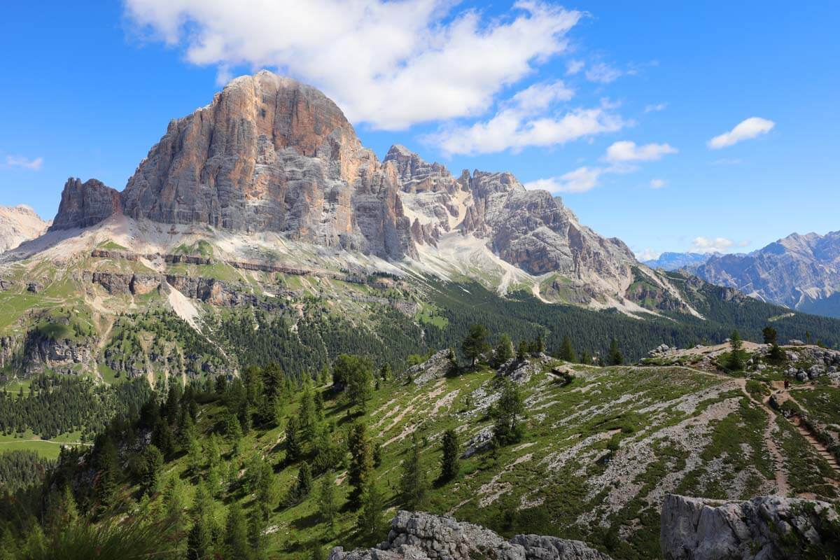 Best places to see in the Dolomites Italy - scenery near Cinque Torri and Falzarego Pass