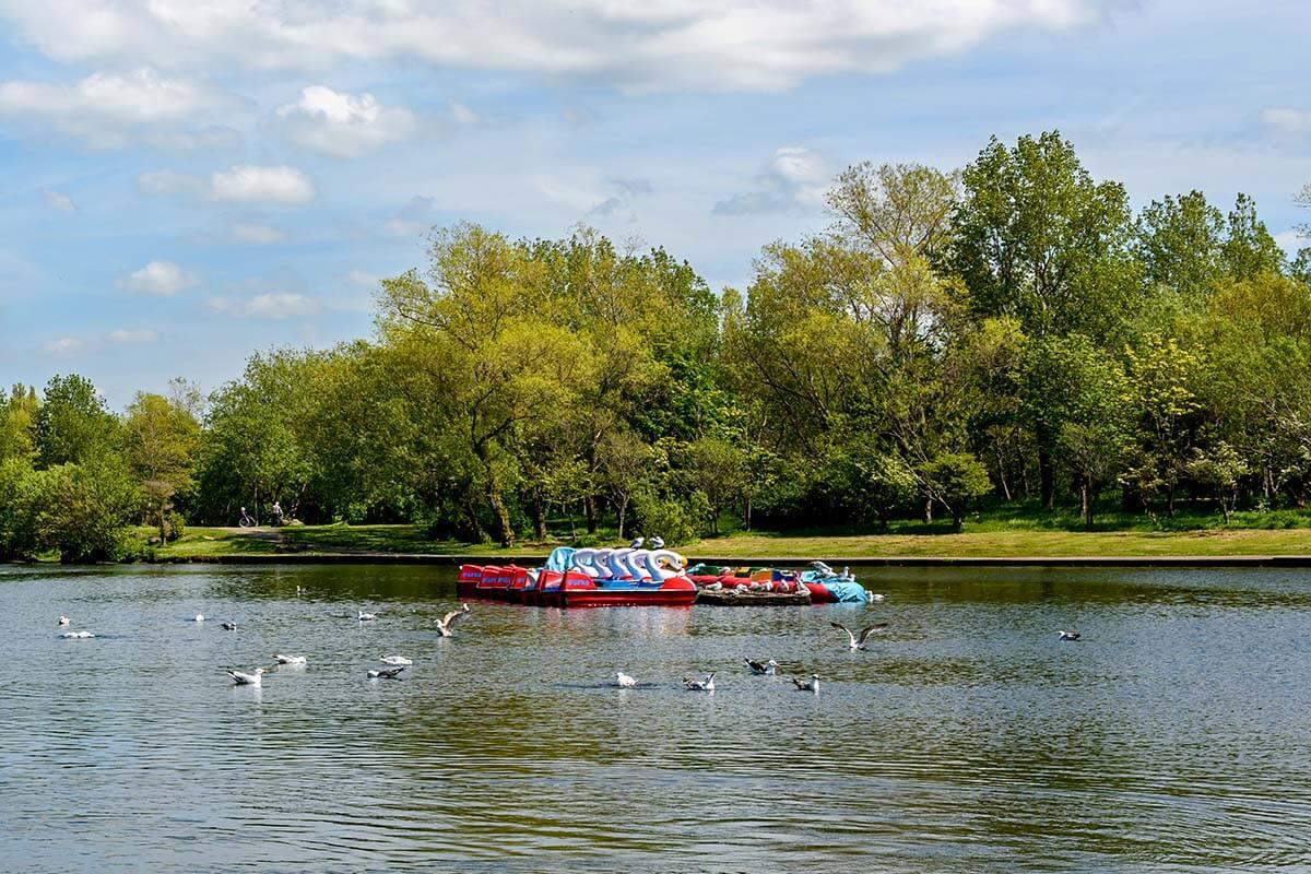 Boating lake in Stanley Park Blackpool UK
