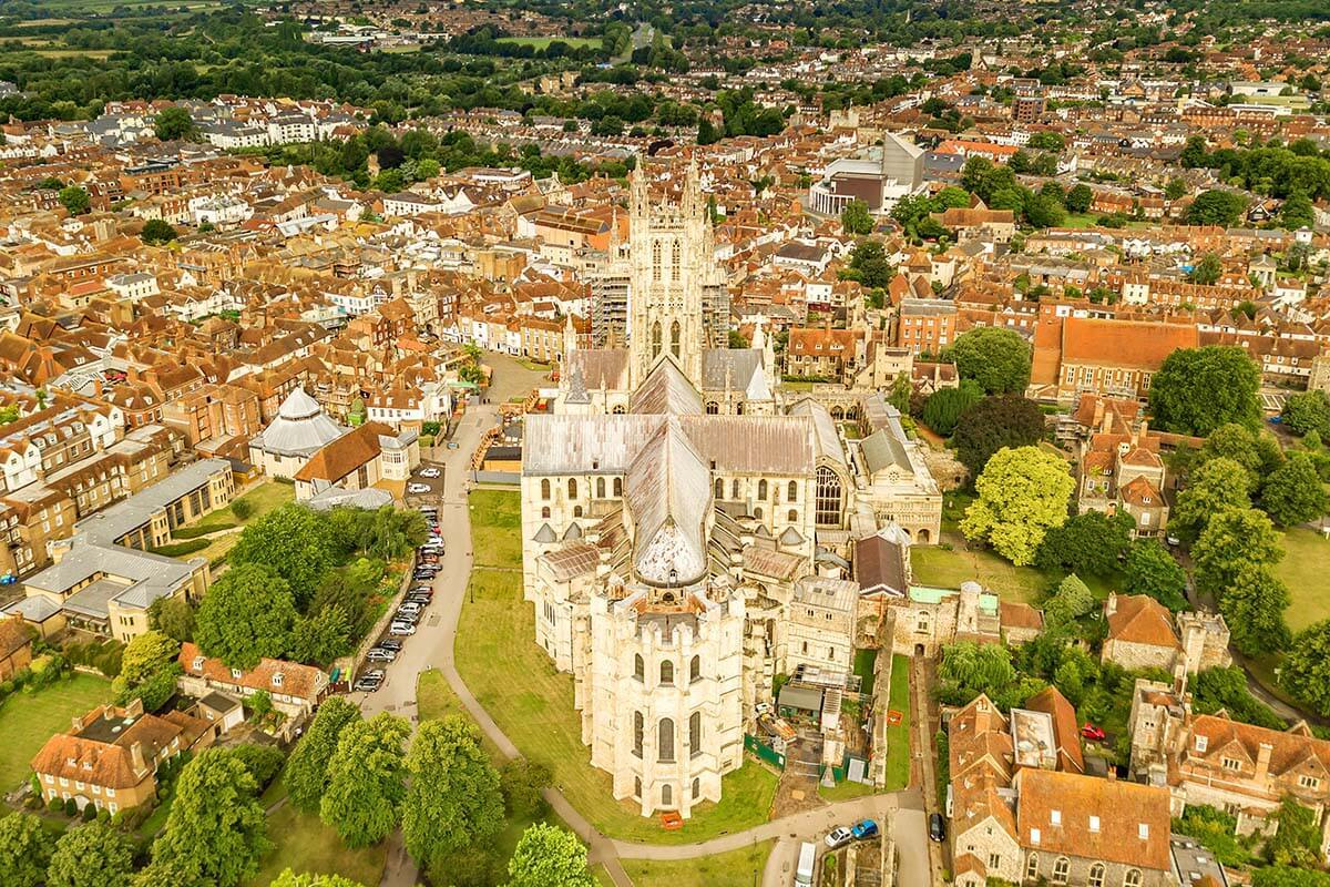 Canterbury Cathedral and Canterbury town aerial view