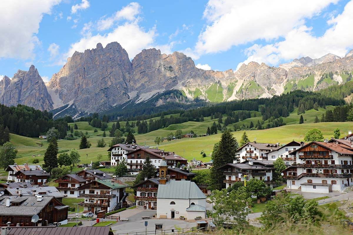 Cortina d'Ampezzo town in the Dolomites Italy