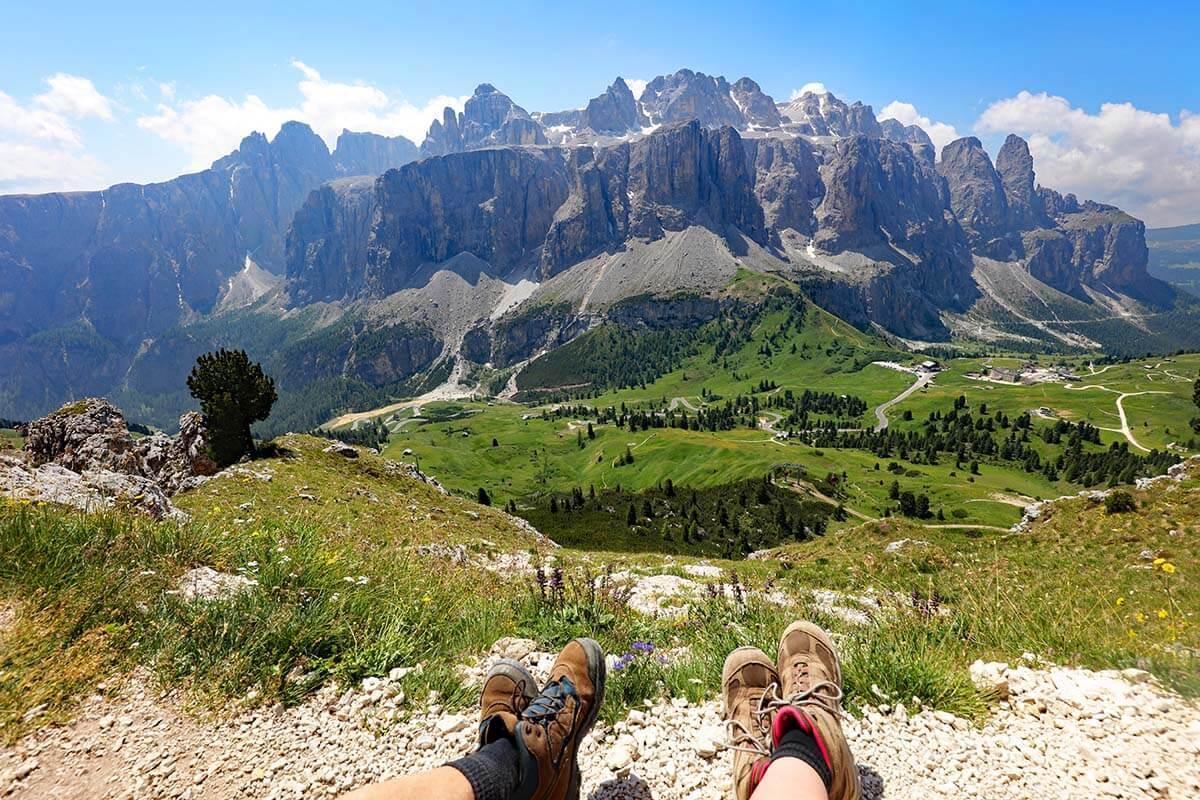 Dolomites mountain scenery in Val Gardena