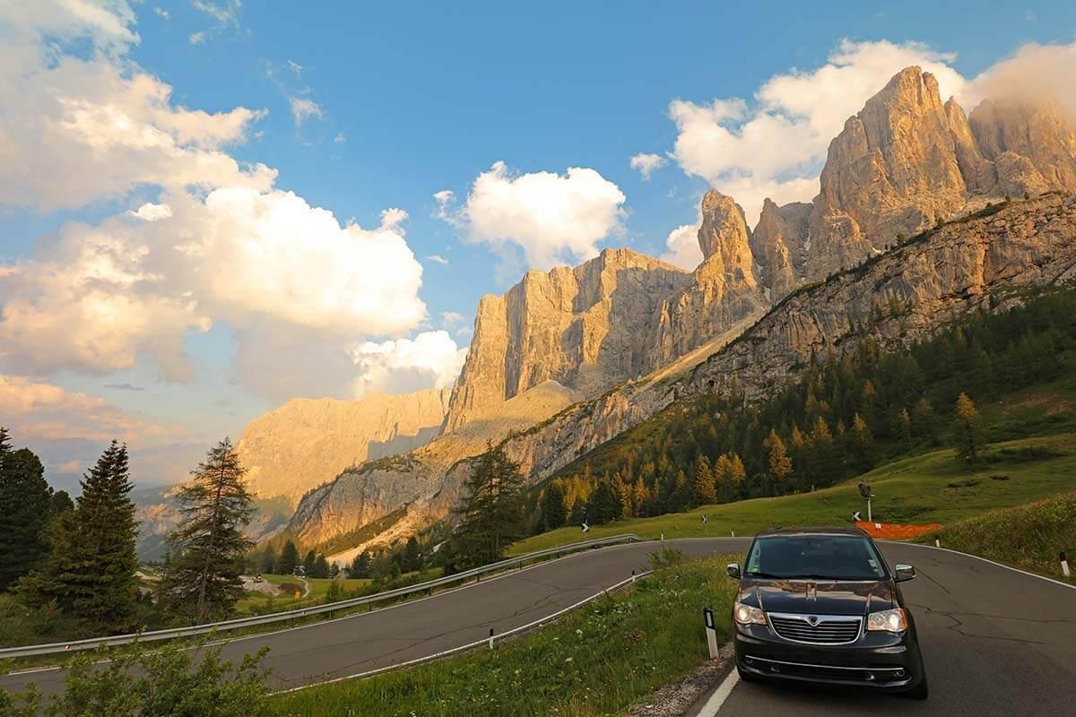 Gardena Pass in the Dolomites Italy