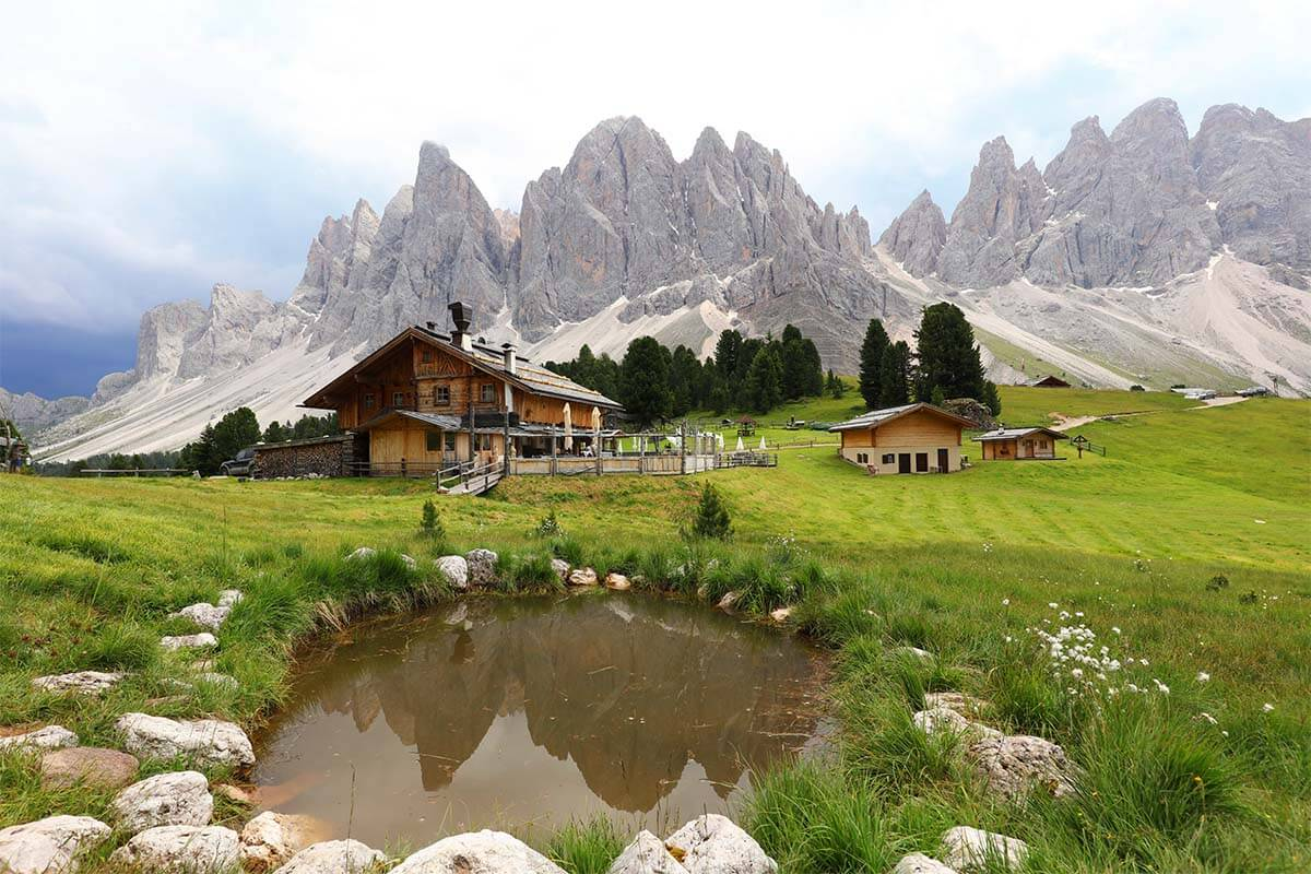 Geisler Alm is one of the most picturesque mountain huts in the Dolomites Italy