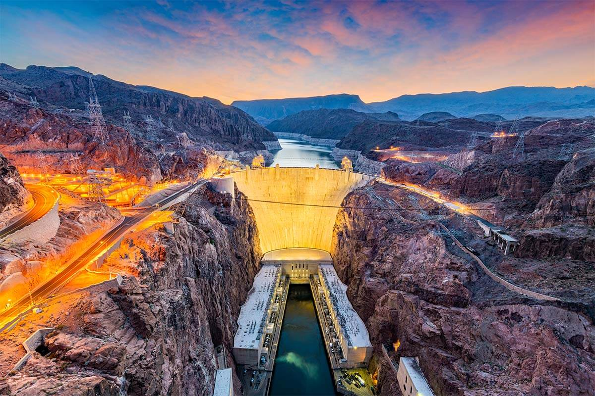 Hoover Dam at the border of Arizona and Nevada
