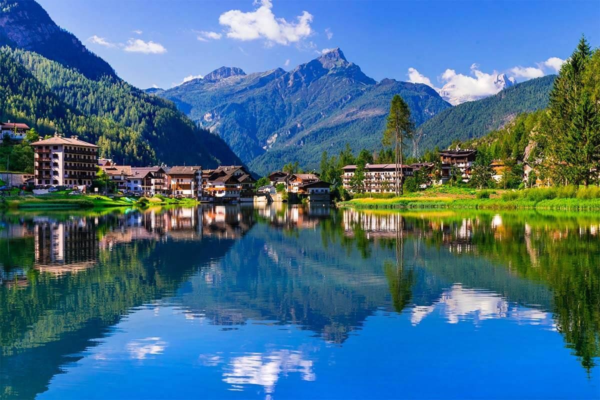 Lago di Alleghe lake in the Dolomites Italy
