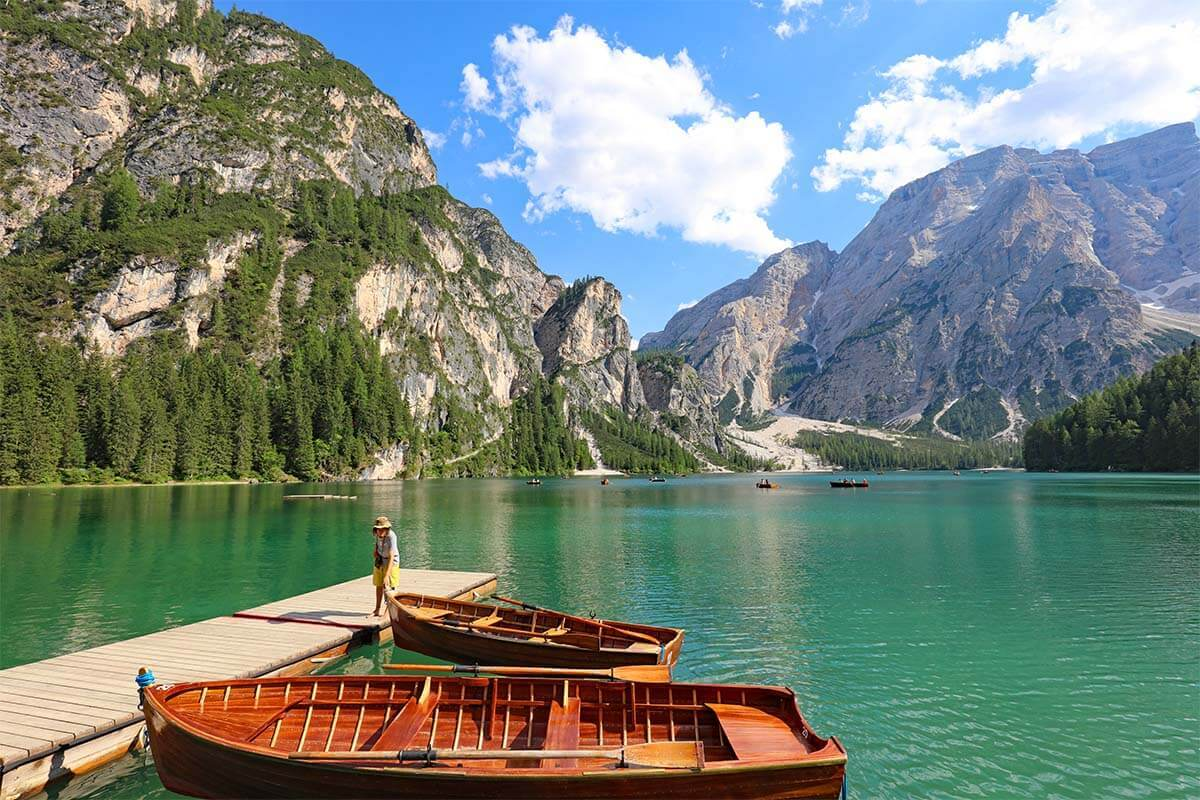 Lago di Braies is one of the most beautiful lakes in the Dolomites Italy