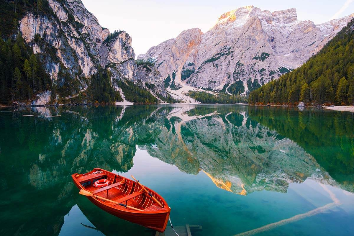 Lago di Braies - the most beautiful lake in Dolomites Italy