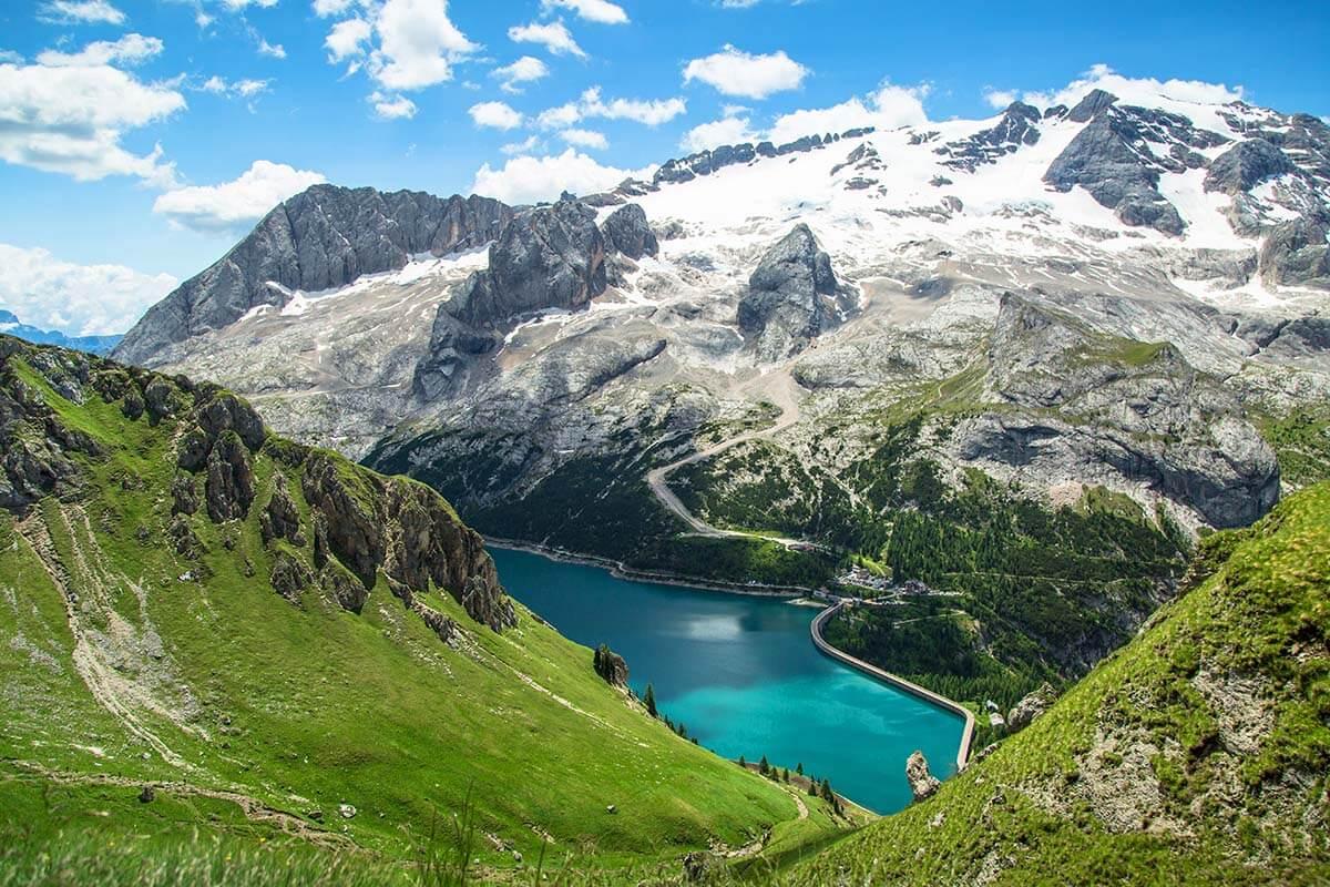 Lago di Fedaia and Marmolada mountain in the Dolomites