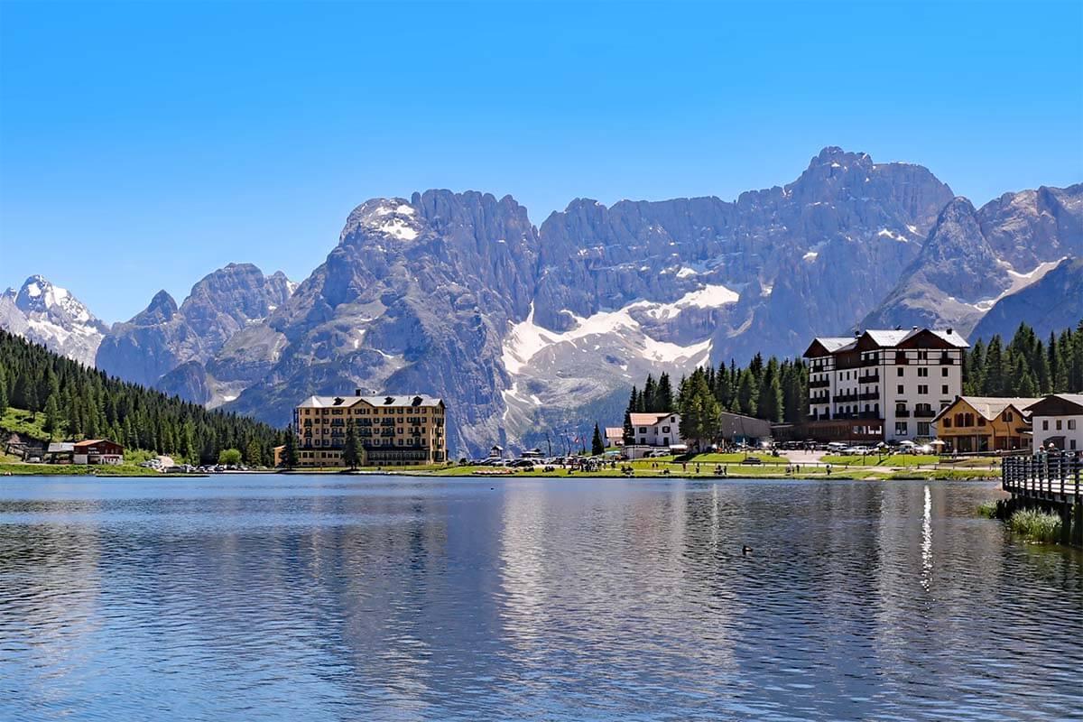Lago di Misurina in the Dolomites Italy