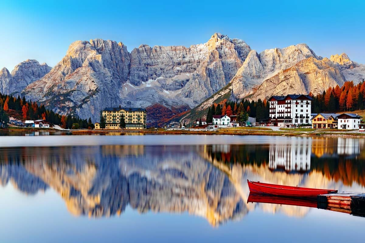 Lago di Misurina - one of the most beautiful lakes in the Dolomites Italy